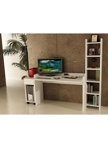 Sanal Mobilya Sirius Dolaplı Kitaplıklı Çalışma Masası 120-Dk-3B Beyaz
